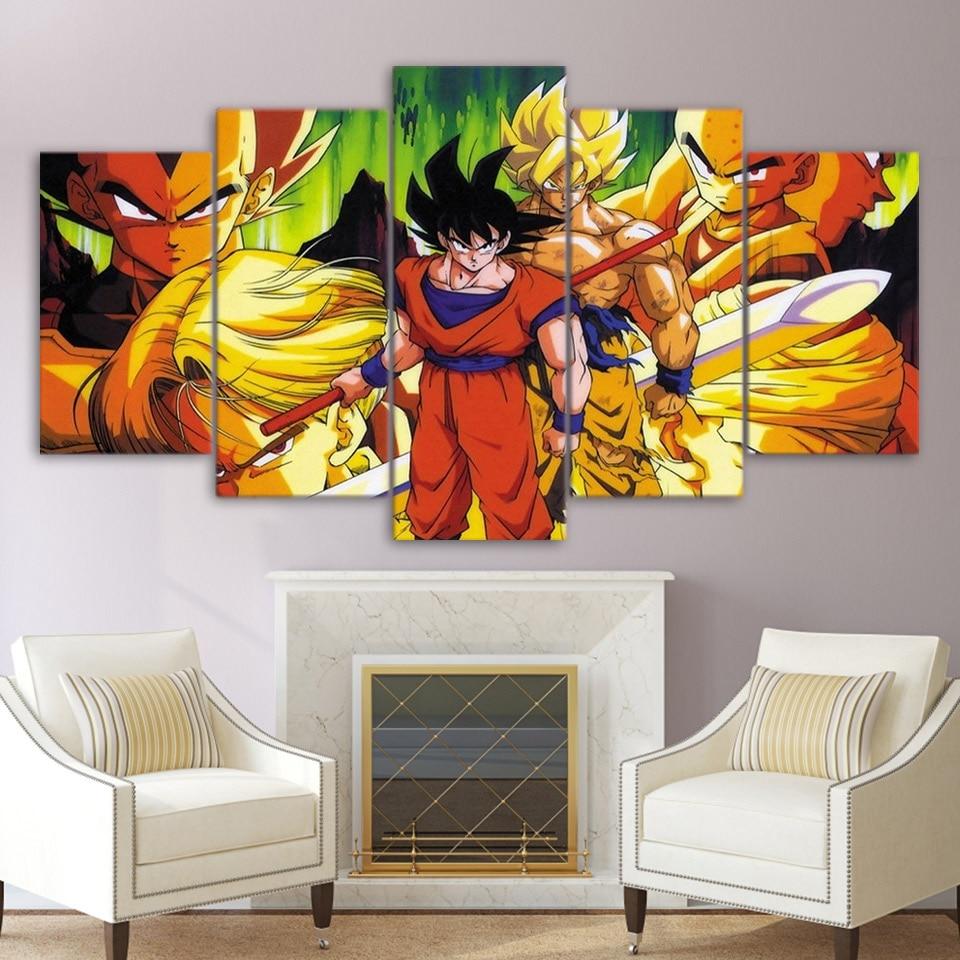 moderne toile peinture cadre hd imprim mur art photos 5 pi ces animation dragon ball super hero. Black Bedroom Furniture Sets. Home Design Ideas