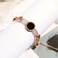 Luxury Brand Roman Numberial Chain Link Bracelet Bangles For Women Men Jewelry Silver Hollow Circle Shell Charm Bracelets