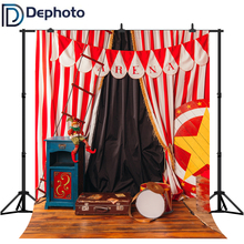 DePhoto Circus Red White Curtains Carnival Birthday Party Photography Backdrops Baby Shower Photo Studio Backgrounds Photobooth