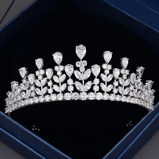 Luxury Silver Cubic Zirconia Bridal Tiara Crown Wedding Hair Jewelry Women Prom Tiaras Accessories