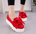 2016 autumn NEW women shoes bowtie muffin heavy-bottomed Platformquality Women Flats fashion loafers women casual ShoesALF221