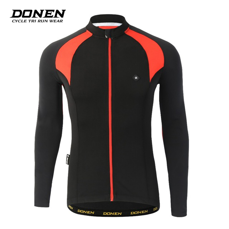 Donen Men's Winter Energy Protection Fleece Thermal Bike Bicycle MTB Cycling Cycle Clothing Long Sleeves Sports Jersey Jacket arsuxeo warm up fleece thermal cycling bike bicycle jersey winter windproof long sleeve jacket men s outdoor sports clothing