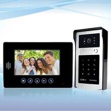 """Com fio 7 """"cor interfone telefone video da porta sistema de câmera monitor de 1 + 1 de acesso RFID com senha do painel para apartamento Frete grátis"""