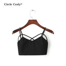 2016 Time-limited Polyester Knitted Camis None Solid Blusa Bustier Crop Top Summer Sexy Halter Top Cross Short Coat Bra Straps