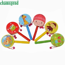 Wooden Rattle Pellet Drum Cartoon Musical Instrument Toy for Child Kids Gift Nov 03