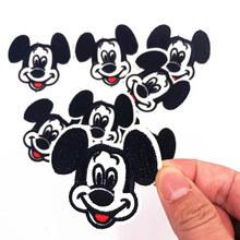Boy gift 1Pcs Classic Mickey Head Iron On Patch Sewing On Embroidered Applique Fabric for Jacket Badge Clothes Apparel Stickers(China)