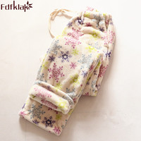 Fdfklak Women's Trousers Home Pants Pijama Pants Winter Warm Flannel Womens Floral Print Trousers Ladies Pajama Bottoms Q537