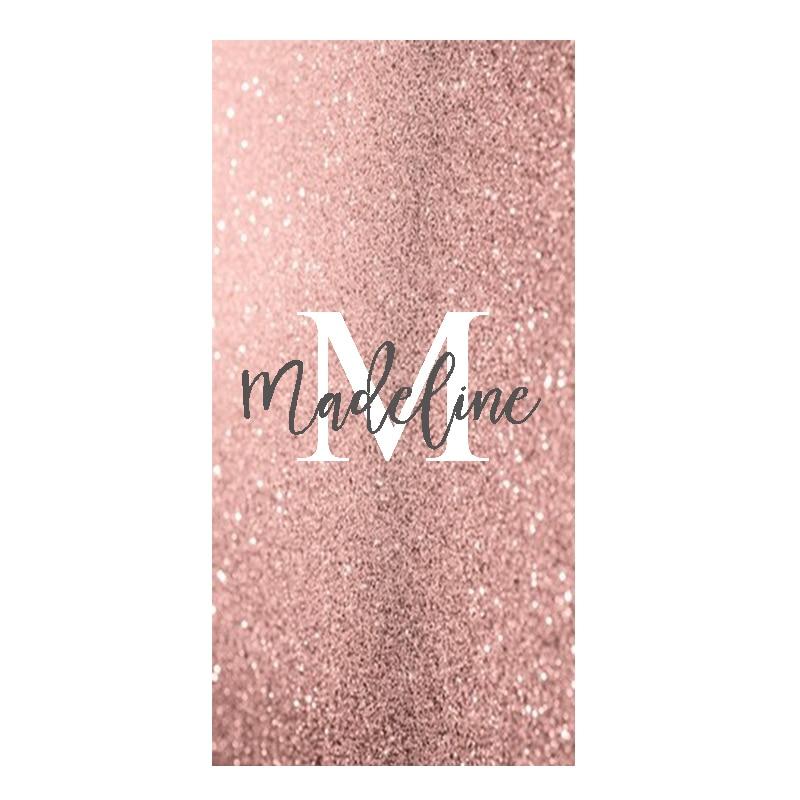 New Trendy Rose Gold Glitter Custom Beach Travel Shower Towel High Quality Sparkle Monogram Sport Towels for Woman Birthday Gift