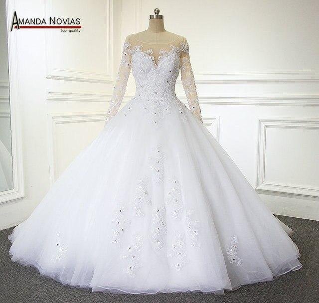 Elegante Bruidsjurken.2019 Nieuwe Elegante Bruidsjurken Scoop Ivoor Wit Prinses