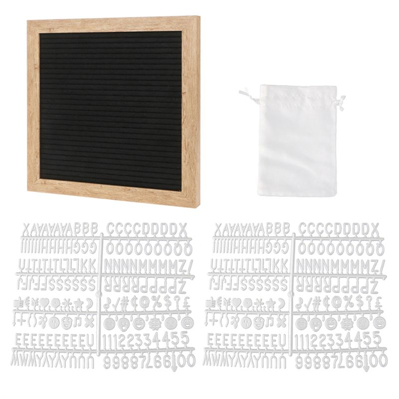 Felt Letter Board 10x10 Inch Retro Wood With 340 White Letters Numbers And Bag