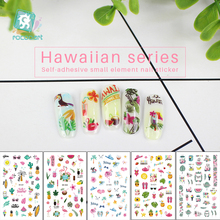 Get more info on the 1pcs Nail Stickers Hawaii Green Leaf Flamingo Flowers Feather Water Decals Nail Art Decorations Wraps Sliders Manicure