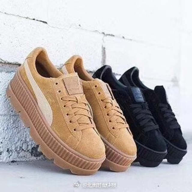 official photos eab4f e2fb7 PUMA FENTY Suede Cleated Creeper Women's First Generation Rihanna Classic  Basket Suede Tone Simple Badminton Shoes