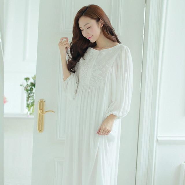 14c0b780e7 Women Sleepwear dress Cotton Nightgown White Night wear Vintage Gentlewoman  Sleepwear Spring Autumn Nightdress