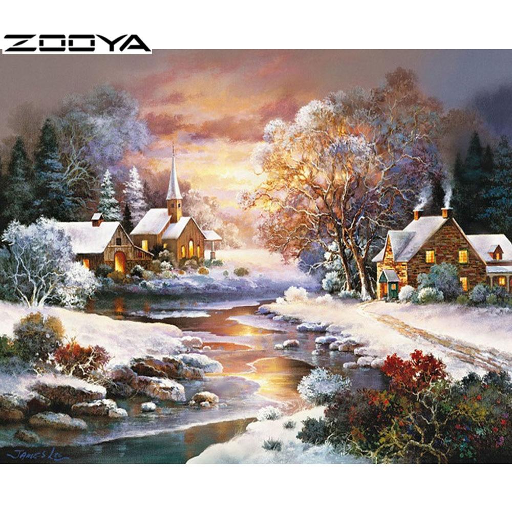 ZOOYA קישוט הבית שני ברבורים 5d רקמה - אומנויות, מלאכת יד ותפירה