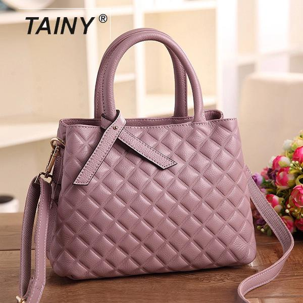 2017 New Arrival Tainy Genuine Leather Cow Leather Totes Diamond pattern Casual Women Top-handle Bags цены