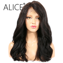 ALICE Kinky Straight Full Lace Human Hair Wigs With Baby Hair Brazilian Non Remy Hair Glueless Full Lace Wigs 2 Style Textures