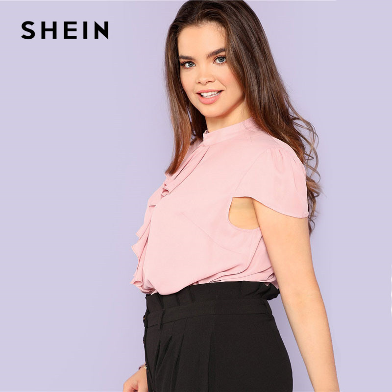3e63f95324 Aliexpress.com : Buy SHEIN Pink Plus Size Puff Sleeve Ruffle Front Stand  Neck Blouse Women 2019 Summer Plain Elegant Casual Workwear Top Blouses  from ...