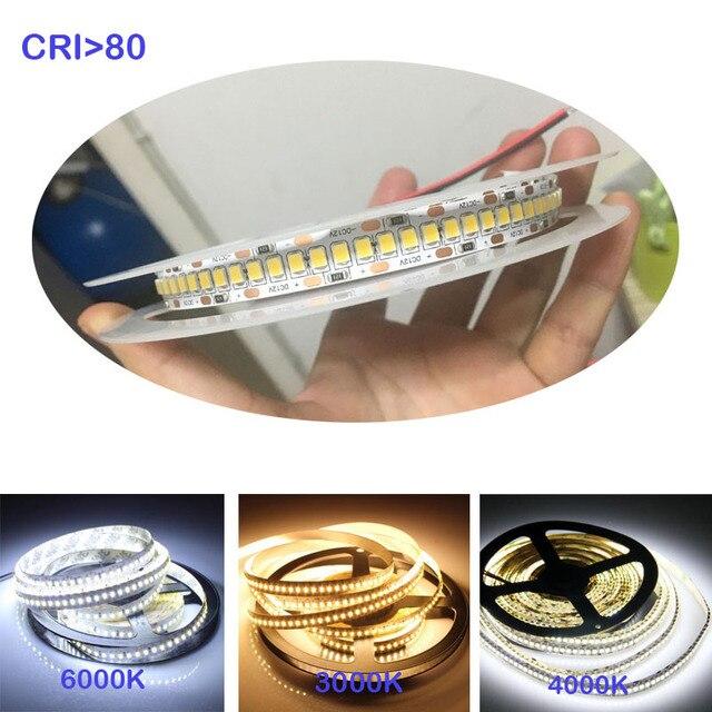 1800lm/m 高 cri 80+ 5 メートル 1200 led 2835 bande は、 12 v 24v ライト sttrip 柔軟な llight 240 led/m led ストリップ白ウォームホワイト
