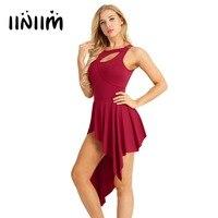 Iiniim Women Adult Sleeveless High Low Leotard Ballet Dance Dress Front Cut Out Stage Performance Dancewear