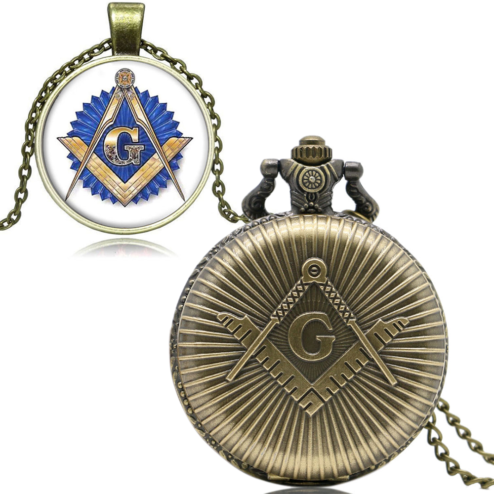 Antique Free and Accepted Masons Design Pocket Watch Kits Set Quartz Fob Clock With Gift Box Necklace Chain Men Women Gifts Xmas 2016 aladdin and the magic lamp watch the young men and women fashion quartz pocket watch table birthday gift ds262