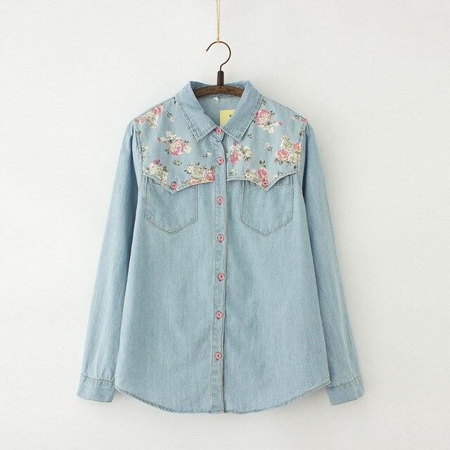 f213ff27bc8 Autumn Denim Blouse Plus Size 4XL Women Loose Tops Flower Print Patchwork  Jeans Blouses Long Sleeve Vintage Shirts Blusas AB327