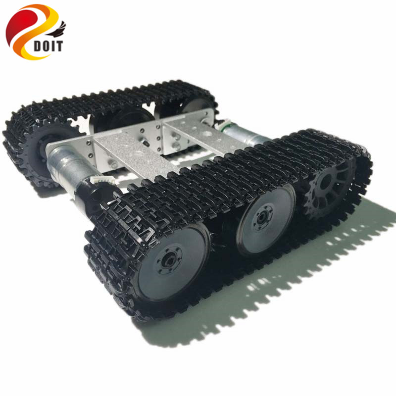 DOIT mini TP100 Silver Robot Tank Chassis Tracked Car with Dual DC 9V Motor for Arduino DIY RC Robot Toy Part