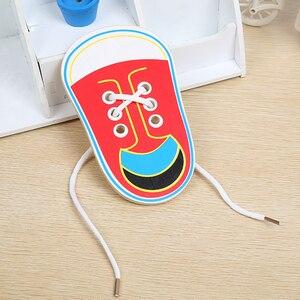 Монтессори игрушки развивающие деревянные игрушки для детей раннего обучения обучение шнуровке Обувь детская бабочка шнурки игры 1 шт