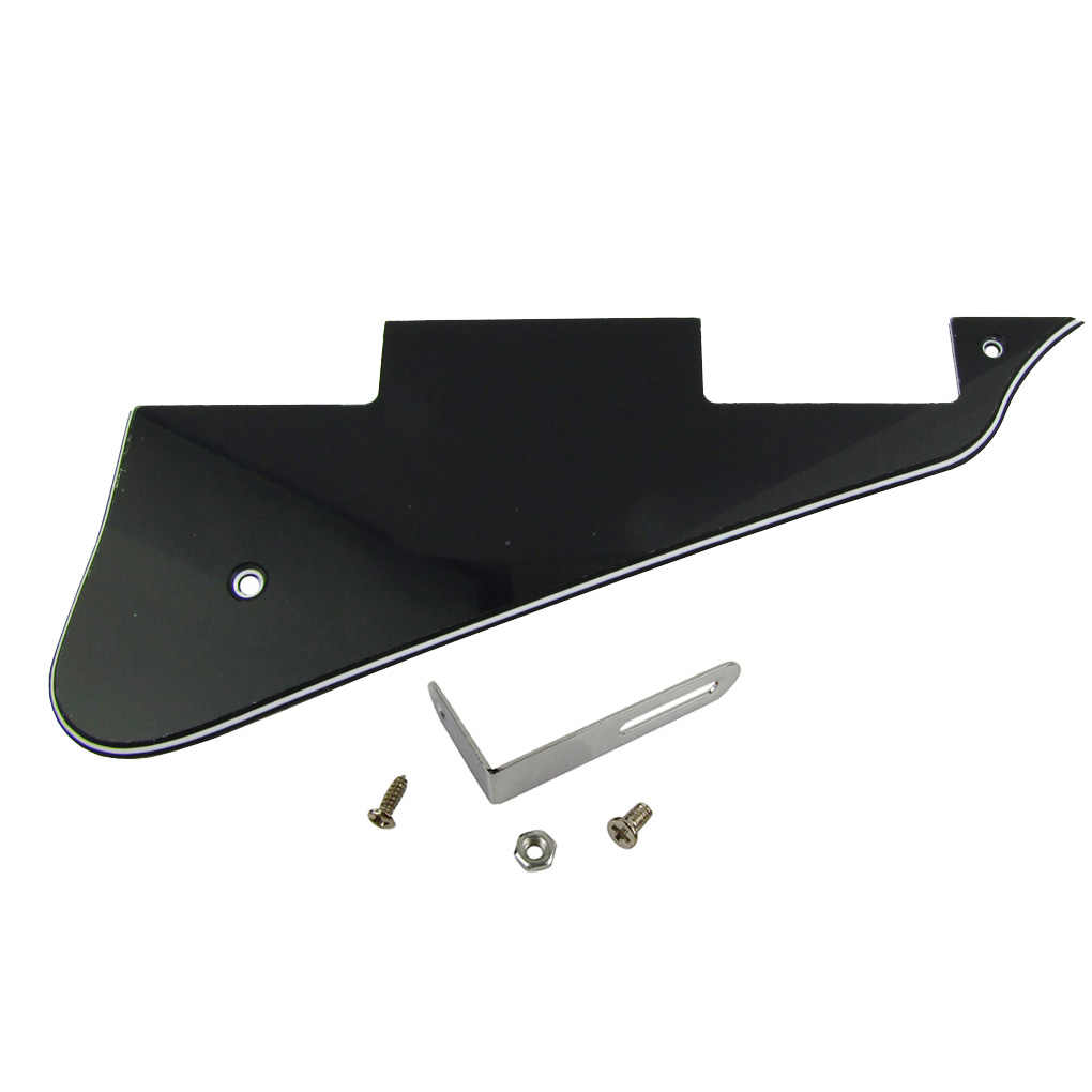 NEW 3Ply Black PVC LP Electric Guitar Pickguard Scratch Plate with Chrome Bracket for LP Guitar Parts