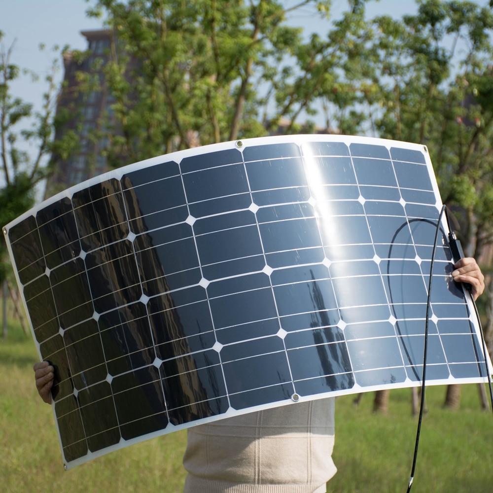 High Efficiency 100W Semi Flexible Solar Module Photovoltaic Solar Panel for 12v battery/yacht/RV/car/boat Solar Power System