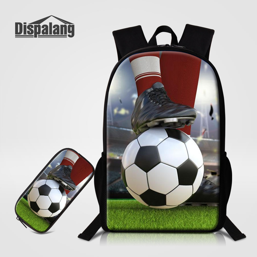 Dispalang Mens Backpacks Footballs School Bags For Teenagers Boys 2 PCS/Set Back Pack Pencil Case For Primary Soccerly Rucksack