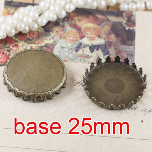 Free shipping!!! 300pcs imperial crown bronze Picture Frame charms Pendants 25mm,Cameo Cab settings