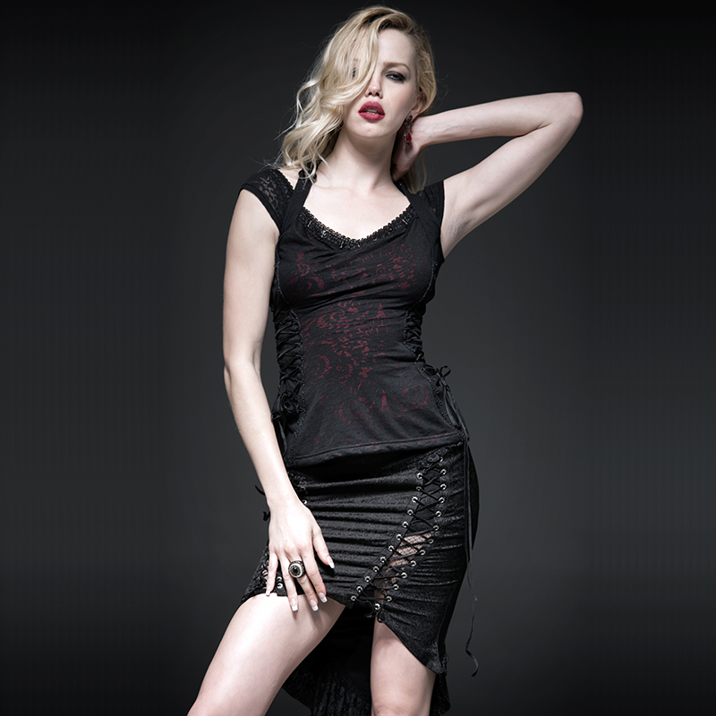 Noir Black Impression Gothique Ceinture Shirt Avant Cou Femmes Suspendus Feu Summer New Rouge Dos Réservoir Pour Sexy Mince Tops SFawqU7