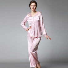Women Rayon Pajama set Lace V-neck Pyjamas 2017 2pcs Silky Sleepwear Female Pijamas Sleep