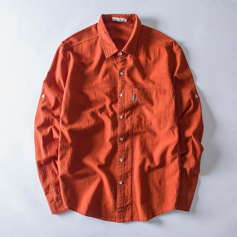 2018 New Long Sleeve Linen Shirts Men Casual Fashion Orange Red Shirt Mens Plus Size 4XL Autumn Shirt Male Overhemd Chemise