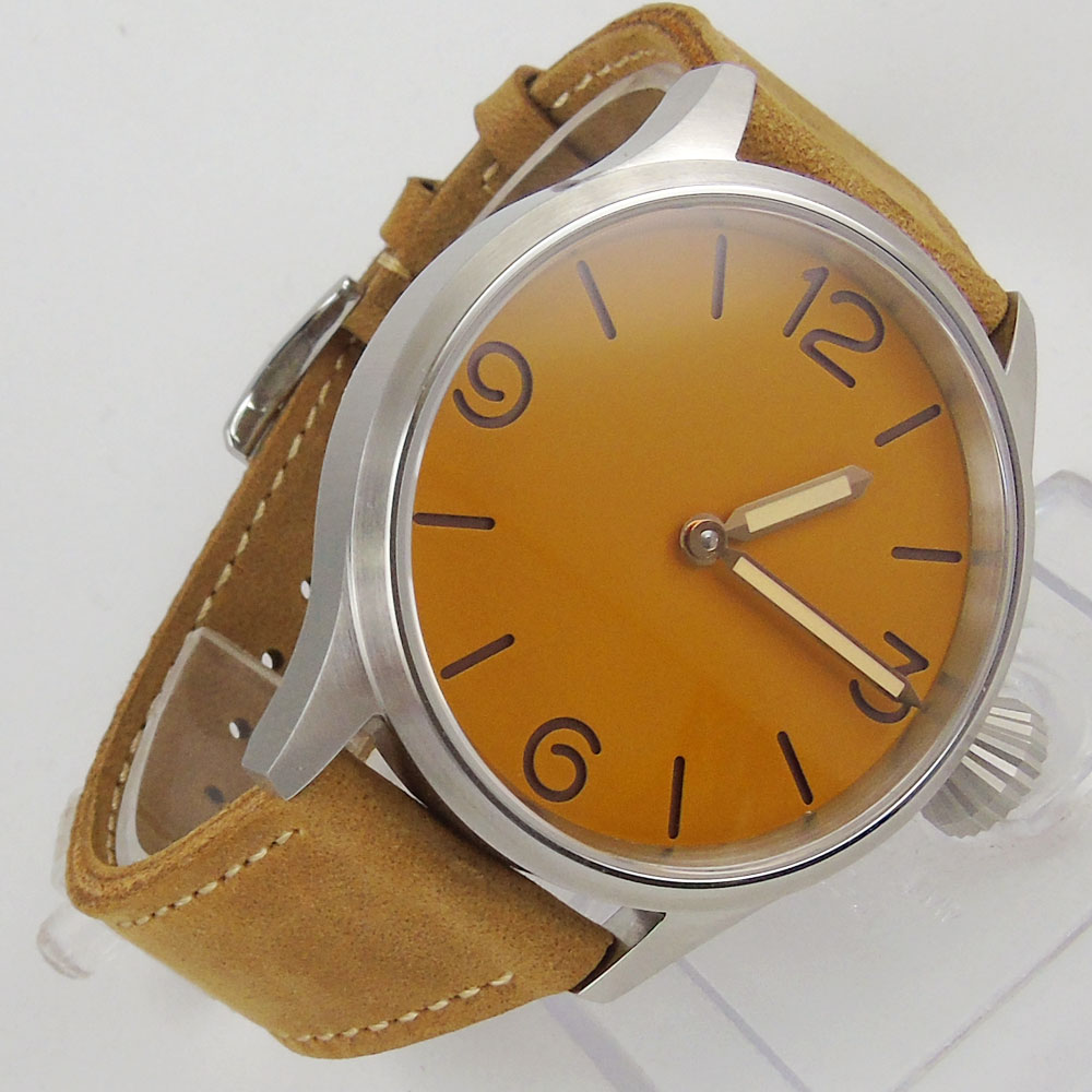 2018 New Top Brand parnis 43mm orange dial sapphire crystal Leather strap ST hand winding 6497 men watch crystal gayle st catharines
