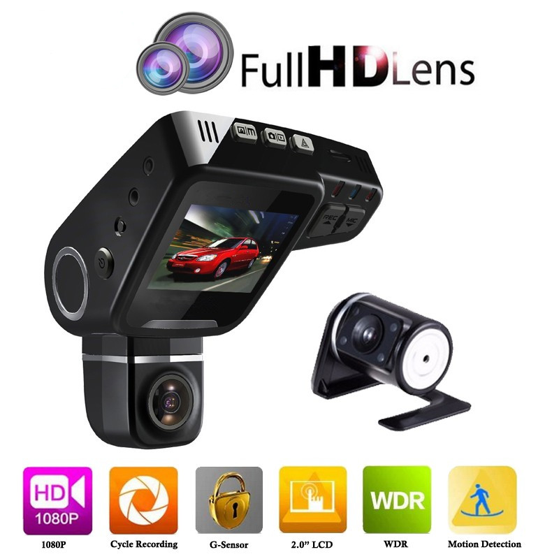 Dual Lens Car DVR Dashboard Camera C10s Plus Full HD 1080P 2.0 Inch LCD 170 Degree G-Sensor Video Recorder Dash Cam 2 7 inch r310 tft lcd dual 2 lens car dvr video recorder
