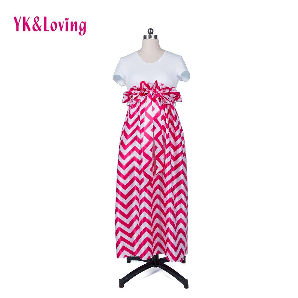 Хлопковая белая футболка + длинная юбка комплекты 2018 новый стиль красный в полоску юбка Одежда для беременных беременные костюм Одежда для ... ...