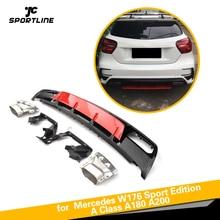 ABS задний диффузор бампер спойлер с выхлопом для Mercedes-Benz класс W176 A45 AMG A180 A200 хэтчбек 4 двери 2013