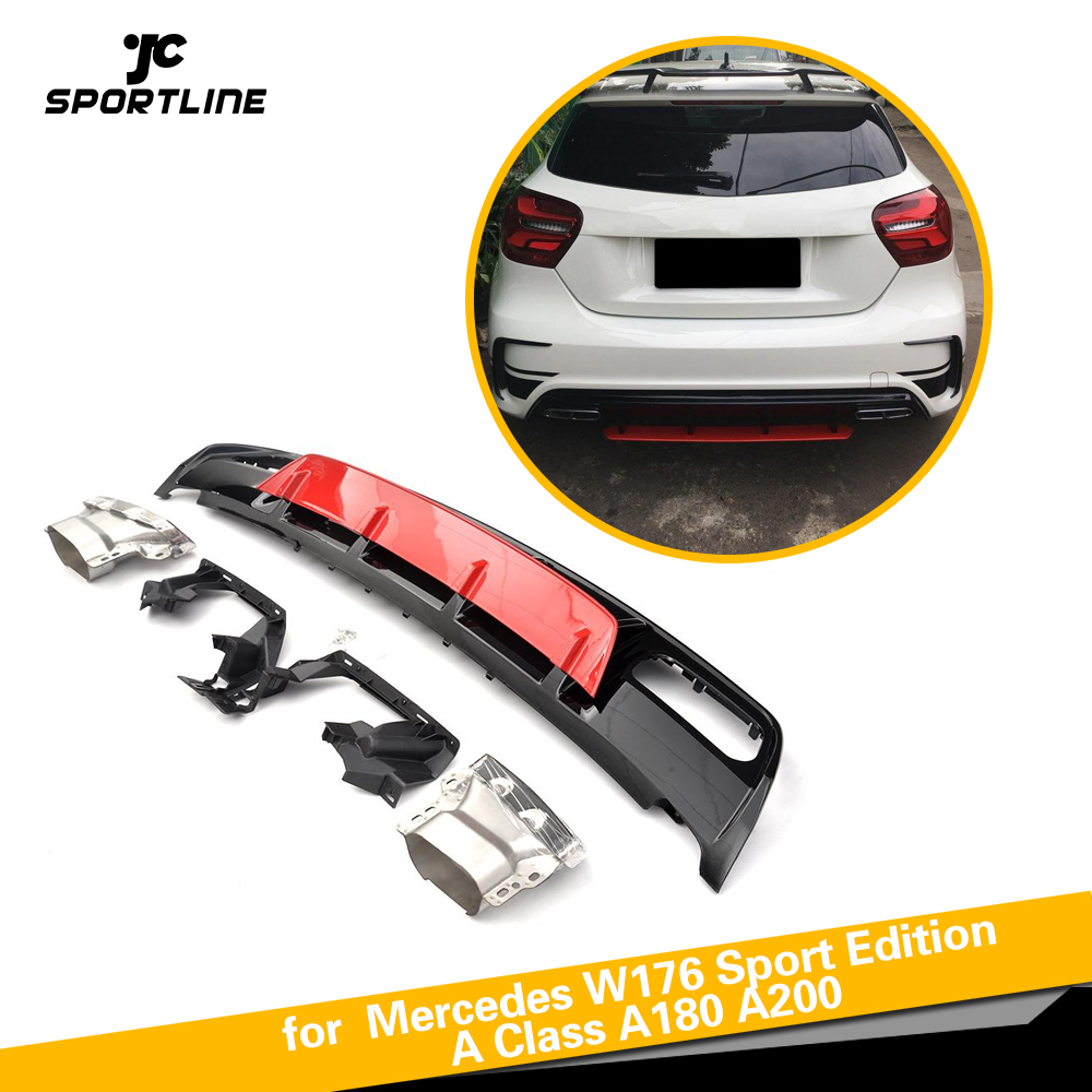 ABS Rear Diffuser Bumper Lip Spoiler With Exhaust for <font><b>Mercedes</b></font>-<font><b>Benz</b></font> A Class <font><b>W176</b></font> A45 AMG A180 <font><b>A200</b></font> Hatchback 4 Door 2013 - 2018 image