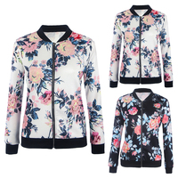 Women Basic Coats Autumn And Winter Floral Printed Bomber Jacket 2017 Vintage Long Sleeve Loose Female Coat Casual Girls Outwear 2