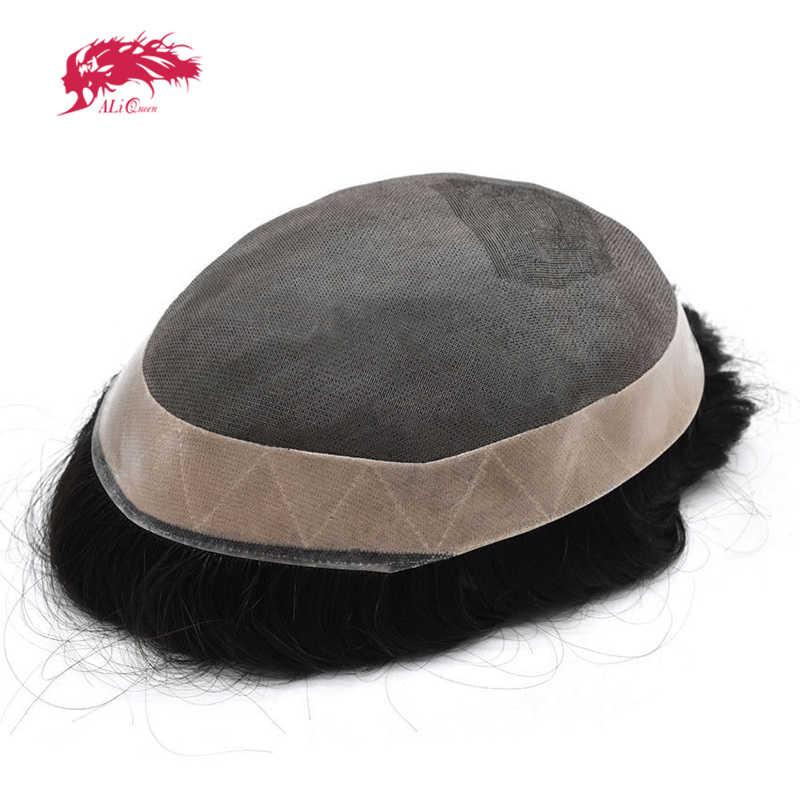Ali queen системы замещения волос подойдет как для повседневной носки, так кружева NPU индийские Волосы remy накладки из искусственных волос мужские волосы парик