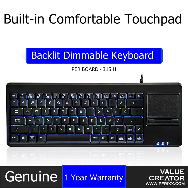 perixx periboard 315 usb wired multimedia backlit touchpad keyboard built in touchpad with. Black Bedroom Furniture Sets. Home Design Ideas