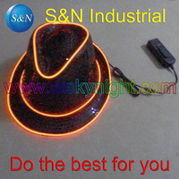 2AA Batteries Caseon Slow Flash Quick Flash Off Inverter With Orange El Wire Panama Jazz Hat