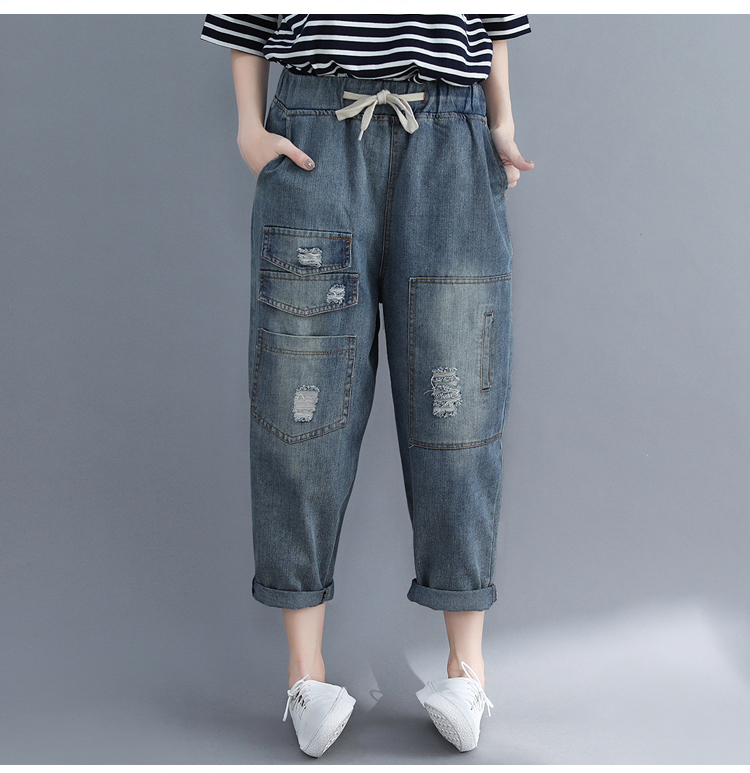 Summer New Boyfriend Jeans Patchwork Harem Pants Women Trousers 2018 Korean Vintage High Waist Ripped Cotton Denim Pants