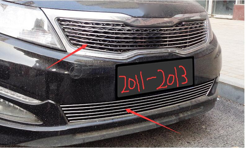 Car styling fit for kia Optima K5 2011-2015 Quality Stainless steel Car front bumper Mesh Grille Around Trim Racing Grills TOP quality stainless steel car front bumper mesh grille around trim racing grills 2012 2015 for ford ecosport