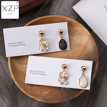 XZP Korea Simple 925 Crystal Pearl Asymmetric Gems Geometry Triangle Round Temperament Ladies Long Drop Dangle Earrings