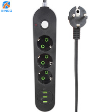 цена на EU Russian USB Extension Electric Socket Plug Multi Outlet Power Strip With USB Charging Ports 3m Cord Cable Surge Protector