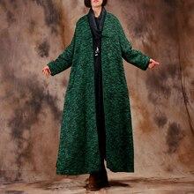 Johnature Women Wool Coat High Quality 2017 Winter New Vintage Bat Sleeve Plus Size Women Clothing Button V-Neck Fashion Coats(China)