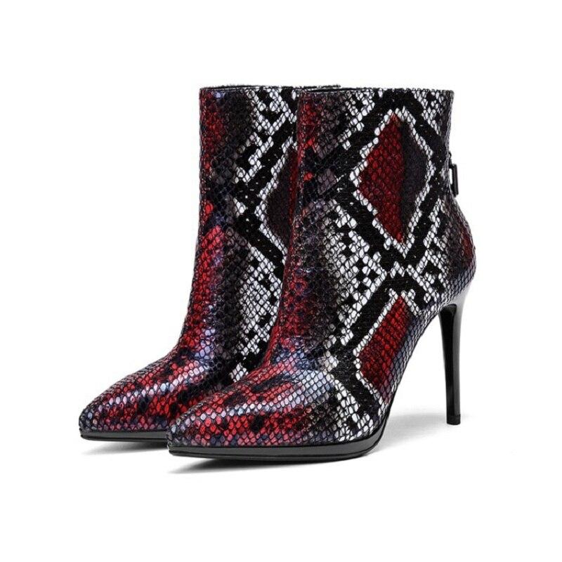 Осень зима 2019 г. Новые Модные женские ботинки из змеиной кожи на высоком каблуке шпильке с острым носком 0307