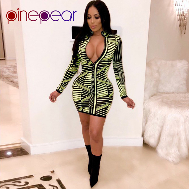 ad7897c6f2 PinePear Fluorescent Green Striped Dress Women Deep V Neck Long Sleeve Mini  Dress Casual Front Zip Bodycon Dress Drop Shipping